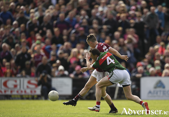Game changer: Johnny Heaney fires the ball to the back of the Mayo net. Photo: Sportsfile