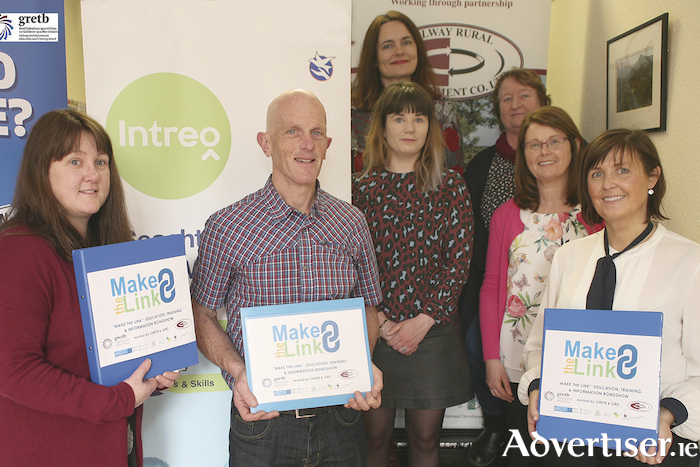 Pictured launching the Make the Link series of education, training, and information events, from left: Nuala Kilgannon (GRETB), Brendan Monaghan (DEASP), Miriam Walsh (GRETB), Aiobheann McCann (GRD), Ann Mallaghan (Galway County Council), Freeda Garman (GRD), Yvonne Kenny (DEASP).