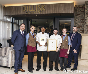 Stephen O'Connor, general manager, Harbour Hotel; Aoife Miller; chef Jean Claude Emverivi; head chef Patrick Anslow; and Dan Regan.