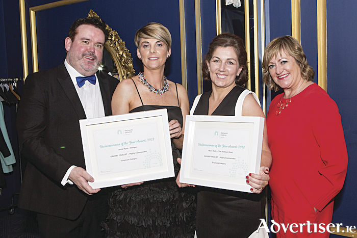 "Kenneth Deery, sponsor AIB, Highly Commended, Employee Category, Anna Ryan, Clinigen and Maria Kelly, The Ardilaun Hotel and Breda Fox, LEO pictured at the Network Galway ""Business Woman of the Year Awards 2018"" in the g Hotel. Photo Martina Regan"