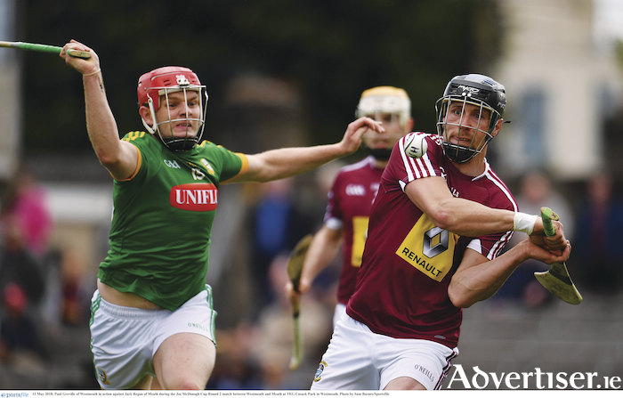 Paul Greville of Westmeath in action against Jack Regan. Photo: Sam Barnes/Sportsfile
