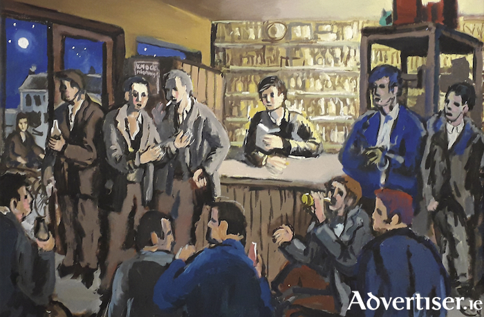 A detail from Late Night Longford, Discussions on the Future by Bernard Canavan. Below is a Canavan's The Irish Mail, Euston.