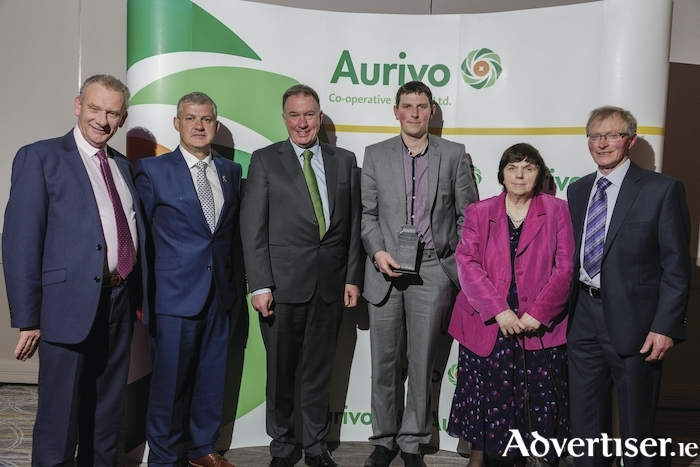 Daniel Walsh from Knock, Claremorris, has been acknowledged for his contribution to dairy farming excellence at the Aurivo Milk Quality Awards. Pictured, left to right: Pat Duffy (chairman), Kevin McStay (guest speaker), Aaron Forde (CEO), Daniel Walsh, Anne Walsh, and Jarlath Walsh.