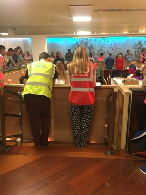 On the count: Tallypeople busy at work in the count centre on Saturday.