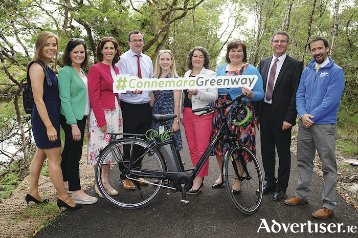 Pictured at the official opening of the 6km Ballinahinch Greenway section are Tracey Dineen, Fáilte Ireland; Cllr Niamh Byrne; Hildegaarde Naughton TD; Kurt Lydon, Senior Technician, Galway Co. Council; Aoife Lydon; Eileen Mannion; Cathaoirleach of Galway County Council. Cllr Mary Hoade; Kevin Kelly, Chief Executive Officer, Galway Co. Council and Fionnán Nestor, Fáilte Ireland.