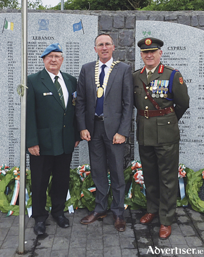 Brig General Peter O'Halloran, Mayor Aengus O'Rourke and Assistant Chief of Staff and Post 9 chairman, Jack McKervey