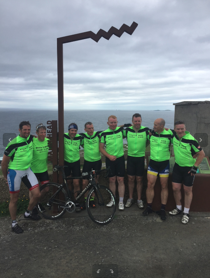 Ready for the off: This group of cyclists will be cycling from Land's End to John o' Groats for charity.
