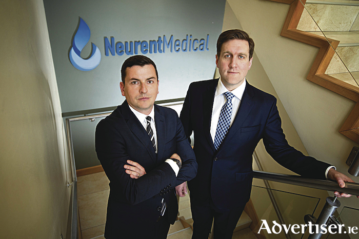 Pictured are David Townley (Chief Technology Officer, Neurent Medical) and Brian Shields (Chief Executive Officer, Neurent Medical) at theire offices in Oranmore, Co. Galway. Pic. Michael Dillon
