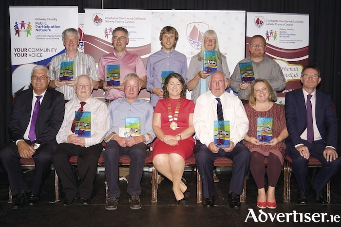 Pictured at the Cathaoirleach's Community Awards ceremony at the Theatre, Station House hotel, Clifden on Thursday night were (standing l-r) Brendán Ó Loinsigh Ballinderreen Community Centre, Diarmuid Kelly Cuan Beo Kinvara, John Staunton Meelick-EyreCourt Kayak Club, Pam Flemming Kinvara Arts Group and Mark McNally Moycullen Historical Society. 