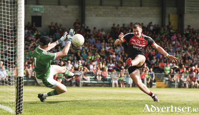 Goal King O'Connor: Cillian O'Connor finishes to the back of the net for Mayo. Photo: Sportsfile