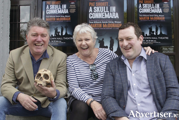A Skull in Connemara actress Maria McDermottroe with co star Pat Shortt and director Andrew Flynn. Photo:- Mike Shaughnessy