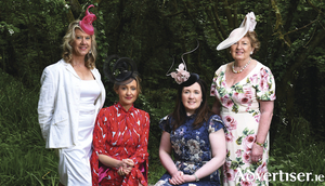 Hazel Hendy, chair of Galway University Hospitals Arts Trust; Emily-Jean, milliner; Margaret Flannery, arts director, Galway University Hospitals Arts Trust; and Phyllis MacNamara, board member, Galway University Hospitals Arts Trust, at the launch of an Afternoon Tea. Photo:- Andrew Downes / Xposure