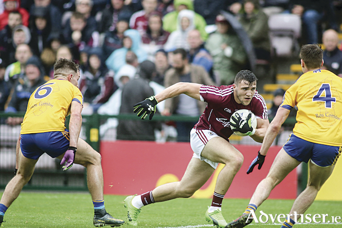 Galway captain and forward Damien Comer  will be targeted again after Roscommon's Sean Mullooly and Niall McInernry put him under pressure in action from the Connacht Senior Football Championship final in Pearse Stadium last season.				Photo:- Mike Shaughnessy