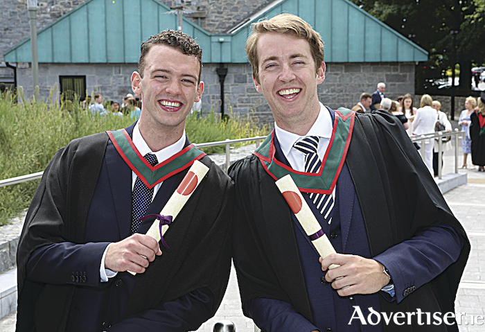 Pictured at NUI Galway's Summer Conferring Ceremony were (l-r) Dr Ben Murphy from Barna, Co. Galway and Fergus McCabe from Clarinbridge, Co. Galway, who were conferred with an Honours Bachelor of Medicine, Bachelor of Surgery, Bachelor of Obstetrics (MB, BCh,BAO) degree. Photo: Aengus McMahon