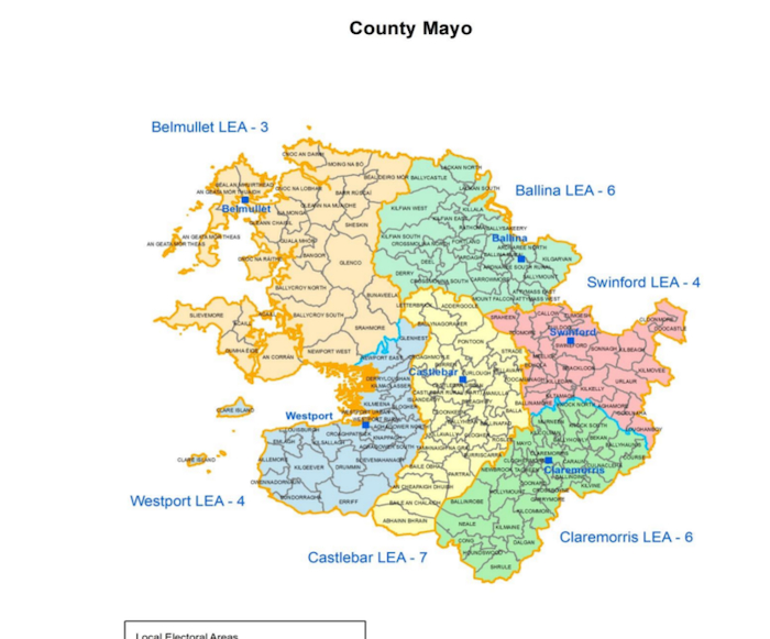 The redrawn local election map for Mayo