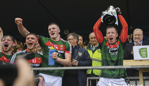 Captains Cup: Ryan O'Donoghue lifts the cup after Mayo's win over Roscommon. Photo: Sportsfile.