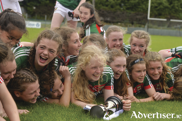 That winning feeling: The Mayo Ladies u14 side celebrate after claiming the All Ireland u14B title. Photo: Sportsfile