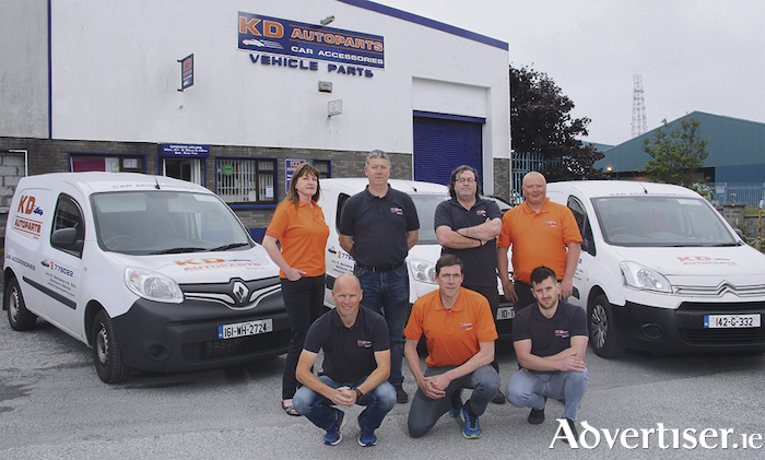 The KD Autoparts team (back l-r) Maureen Duggan and Martin Kennedy (directors) with Declan Giles and Alan Flanagan. (Front l-r) Kieran Counihan, Colin McDonagh and Trevor Casserly. 