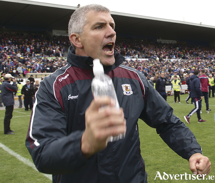 Kevin Walsh celebrates Galway winning the Connacht Senior Football Championship final at Dr Hyde Park on Sunday. Photo:-Mike Shaughnessy