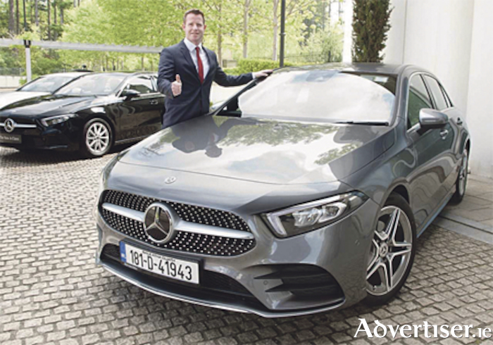 Ian Moore of Michael Moore Car Sales, Athlone, pictured with the stylish new Mercedes-Benz A-Class.