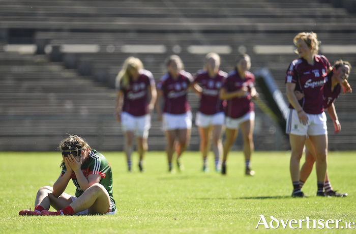 The pain of defeat: Mayo's Rachel Kearns after Mayo's loss to Galway in the Connacht Ladies Senior Football Championship final. Photo: Sportsfile