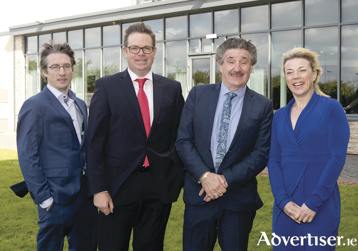Pictured at the announcement of funding for the MET Gateway Network, (l-r): Tomás Thompson, CEO Rockfield Medical (based in the GMIT iHub); Dr Eugene McCarthy, GMIT MET Gateway; Minister of State for Training and Skills John Halligan; and Dr Lisa Ryan, GMIT MET academic director in medicinal nutrition.