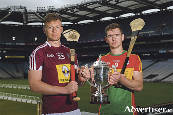 Tommy Doyle of Westmeath and Diarmuid Byrne of Carlow ahead of the Joe McDonagh Cup final in Croke Park on Sunday. Photo by Piaras O Midheach/Sportsfile