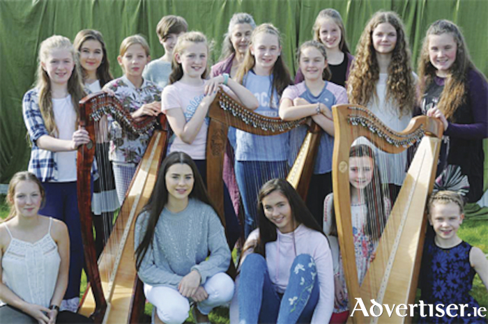 Members of the Blossom Harp Ensemble band that are raising funds to travel to France this July.