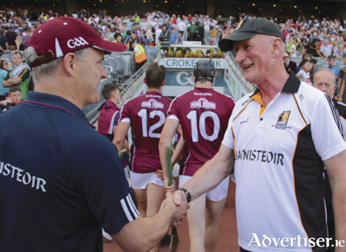 See ya in Thurles...Micheál Donoghue and Brian Cody greet each other after  the Leinster GAA Hurling Senior Championship final at Croker Park on Sunday. Photo:-Mike Shaughnessy