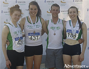 Craughwell AC's medallists at the National U20 and U23 Championships in Tullamore: Caron Ryan, U20 national 5000m champion; Chloe Casey, bronze medallist in the U20 shot putt; Conor Duggan,  bronze medallist in the U23 200m; and Sinead Treacy,  silver medallist in the U23 200m and 400m.
