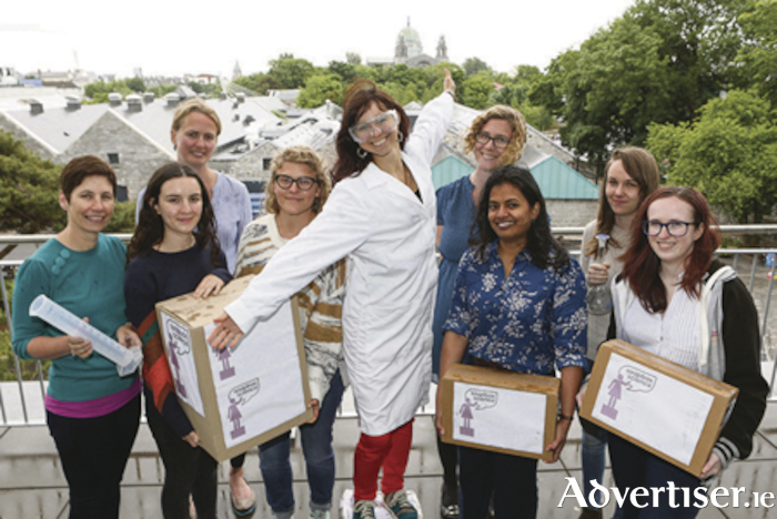 Some of the scientists taking part in Soapbox Science Galway on Saturday, from left: Dr Karen Molloy, Morag Taite, Dr Dara Stanley, Dr Kathryn Schoenrock, Cécile Robin, and Dr Jessamyn Fairfield, NUI Galway, La Daana Kanhai, GMIT, Eimear O'Hara and Alice Selby, NUI Galway.  Photo: Aengus McMahon.