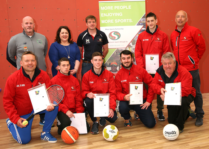 Achieving their goal participants in the Goal to Work programme in Ballina with course leaders Paul Byrne (FAI Development Officer), Anne Conlon (Conlon Training), Ray McNamara (Mayo Sports Partnership) were Lucas Kijowski, Jack Kavanagh, Aaron Murphy, Johnny Devanney,  Declan O'Dea and Michael Regan.  Photo: Heverin Print.