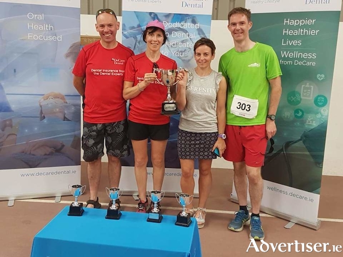 The HSE team who won the De Care Dental corporate challenge trophy.  From left: Padraic McVann, Mari Johnston, Lynda Hession, John Kelly.