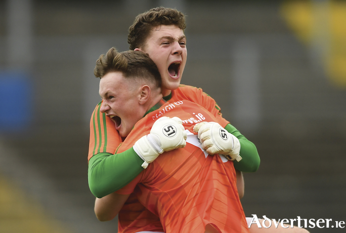 What a feeling: Mayo goalkeepers Paddy O'Malley and Adam Byrne celebrate at the full time whistle. Photo: Sportsfile