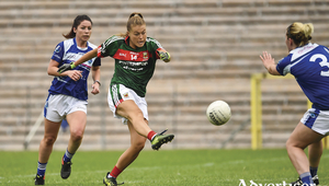 Going for goal: Sarah Rowe looks to find the net for Mayo against Cavan. Photo: Sportsfile