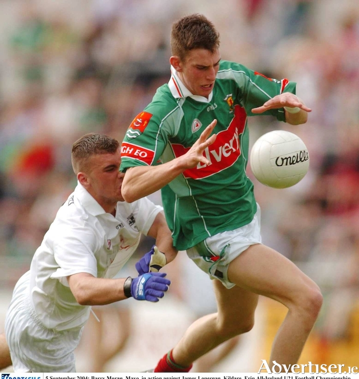 A young Barry Moran in action for the Mayo u21s against Kildare in the All Ireland semi-final in 2004. Photo: Sportsfile
