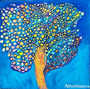 Tree. Mixed media on board, by Julia O'Keefe