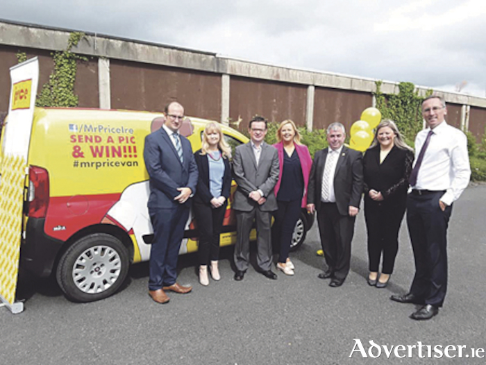 At the Mr. Price jobs announcement in Cornamaddy were l-r, Cllr. Paul Hogan, Ms. Laura Blighe, Marketing Manager, Mr. Price, Cllr. Michael O'Brien, Cllr. Ailish McManus, Deputy Kevin 'Boxer' Moran TD, Ms. Emma Pillion, Mr. Price, Property Director and Cllr. Aengus O'Rourke.