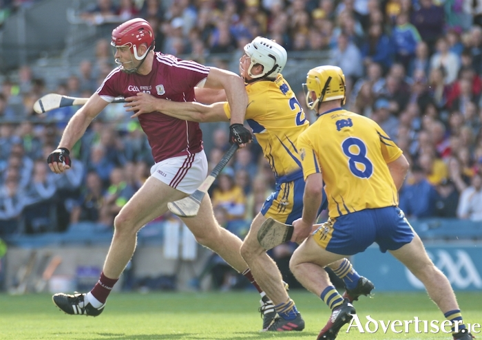 Galway's Jonathan Glynn and Clare's Patrick O'Connor in action from the All Ireland Senior Hurling Championship semi-final at Croke Park, Sunday. Photo:-Mike Shaughnessy
