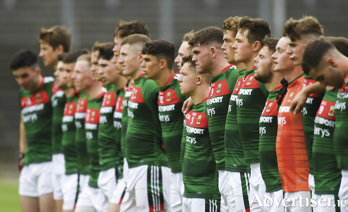 Brothers in arms: The Mayo u20 team link arms ahead of their All Ireland semi-final win over Derry. Photo: Sportsfile