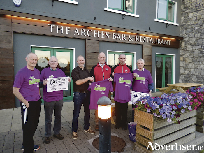 Brendan Dunleavy from the Arches Hotel, Bar & Restaurant (main sponsor) with members from Clare River Harriers Athletic Club at the official launch of the 2018 Claregalway 10K which will be held on Saturday 25-August at 6pm.
