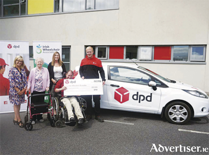 Pictured at the DPD cheque presentation to the IWA were l-r, Charlene Hurley, National Fundraising Manager IWA, Carmel Gavin, Aoife Kearney, Marketing Department at DPD Ireland, Padraic Clarke and Francis Bradley, DPD Ireland Driver.