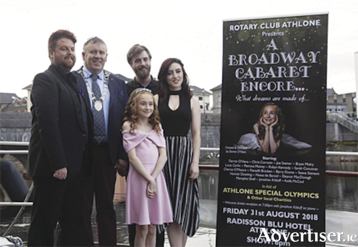 Rotary Club of Athlone President, Thomas Mulligan, pictured with Darren O'Hara, Cherise O'Moore and Aoife McCaul at the launch of 'A Broadway Cabaret Encore'