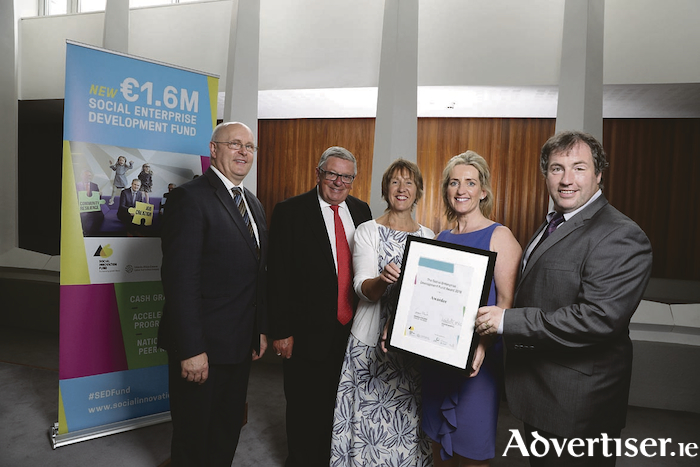 Pictured left to right at the presentation of the Social Enterprise Development Fund Award to the Galway based Meals4Health project, are Brendan McGrath (Galway city manager), George Jones (chair of IPB Insurance), Jacquie Horan (CEO COPE Galway), Geraldine Ryan (executive chef COPE Galway Community Catering), and John Evoy (Social Innovation Fund Ireland). Photo:- Jason Clarke