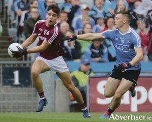 Galway's Seán Kelly and Dublin's Con O'Callaghan in action from the GAA Football All Ireland Senior Championship semi-final at Croke Park on Saturday. 
