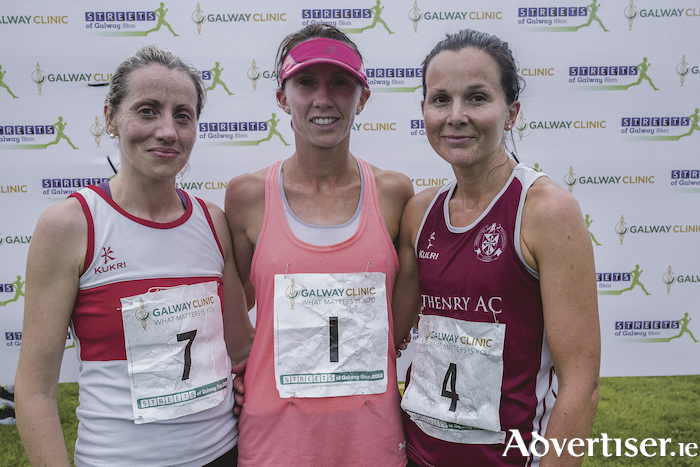 First three ladies, left to right, Regina Casey of Gch second, winner Siobhan o Doherty of Borrisokane AC, and third Jane Ann Meehan of Athenry AC.