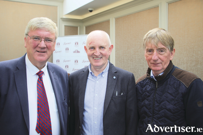 Pat McDonagh of Supermac's with Michael Larkin and Pat Kearney, Galway County Board chairman. 		Photo - Mike Shaughnessy.