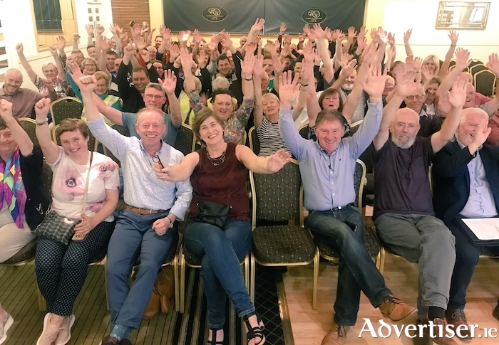 Hands up for our greenway - councillors and the local community turned out in huge numbers at the Raheen Woods Hotel in Athenry to support The Quiet Man Greenway.