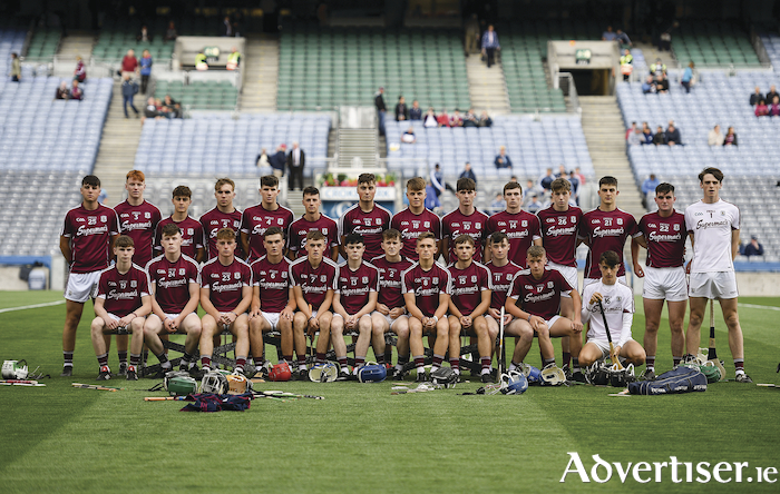 28 July 2018; The Galway squad prior to the Electric Ireland GAA Hurling All-Ireland Minor Championship semi-final match between Dublin and Galway at Croke Park in Dublin. 