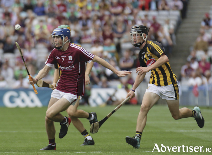 Galway's Evan Duggan breaks away from Kilkenny's Conor Kelly in action from the Electric Ireland GAA Hurling Minor Championship final at Croke Park, Sunday. Photo:-Mike Shaughnessy